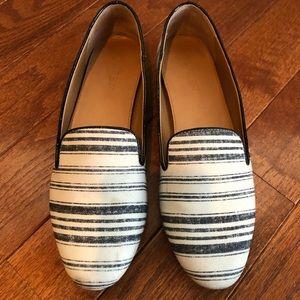 J.Crew blue and white stripe smoking slippers